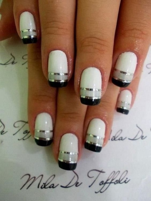 Черно-белый френч 💅 на ногтях — 12 идей красивого маникюра, фото