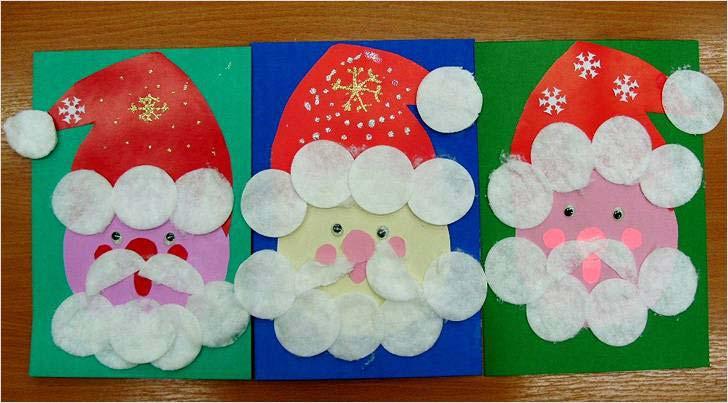 Дед мороз из бумаги и ватных дисков