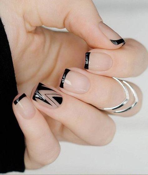 Чёрный френч: стильный дизайн ногтей, модные тенденции, фото