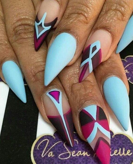 Дизайн острых ногтей — 20 идей красивого и модного маникюра, новинки, фото