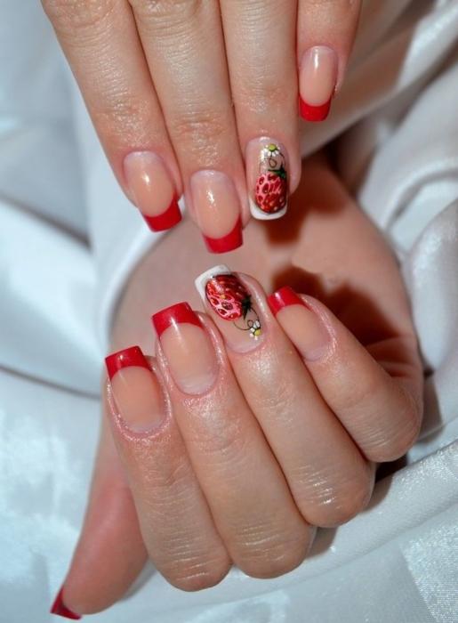 Красный френч на ногтях 💅 − 15 идей красивого, модного и эффектного маникюра, фото