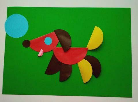 Собачка из цветных кружков