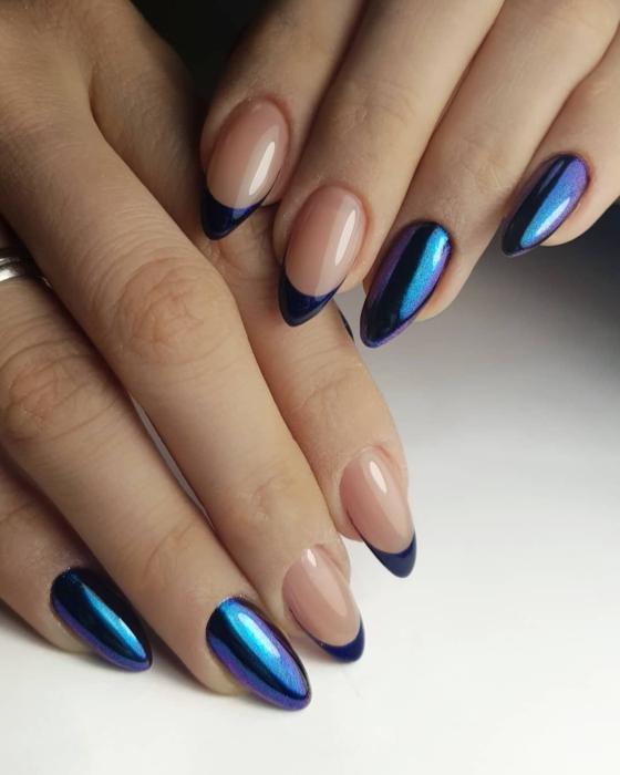 Френч синий: варианты стильного нейл-арта, новинки 2019, фото